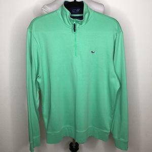Vineyard Vines Green Cotton Zip Pullover Shirt Med